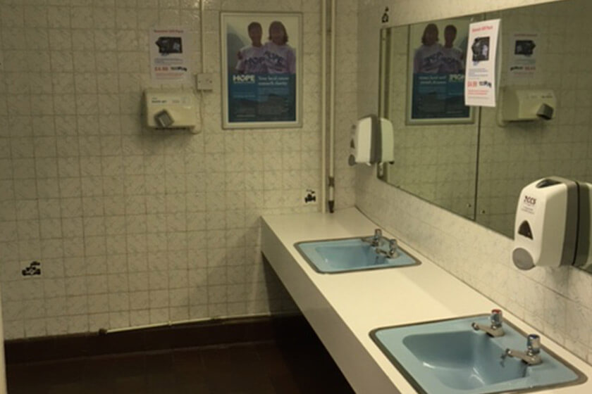 Outdated WC facilities before refurbishment